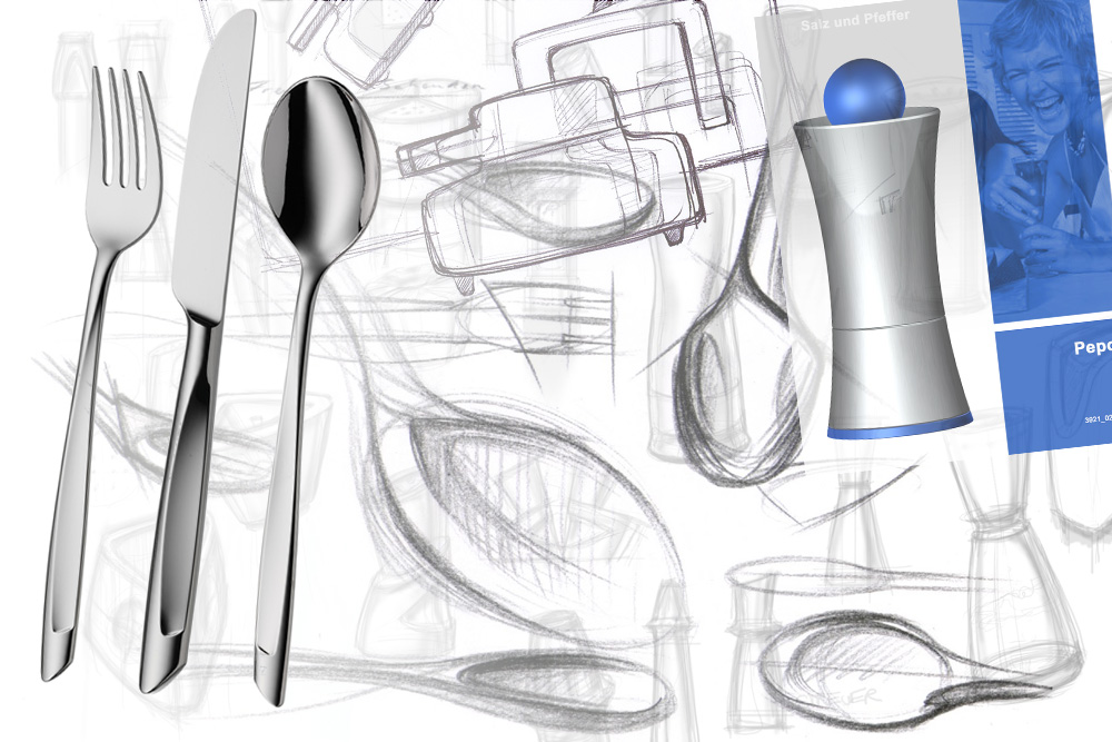 Beginning of design of kitchenware such as cutlery for WMF and others