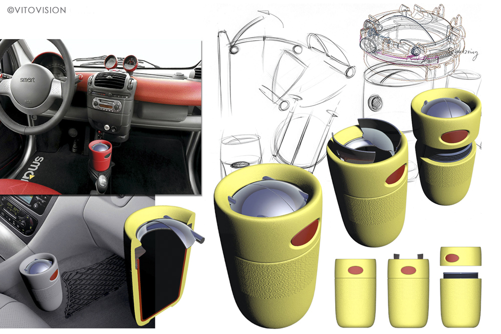 Innovative cup holder for the car manufacturer Smart