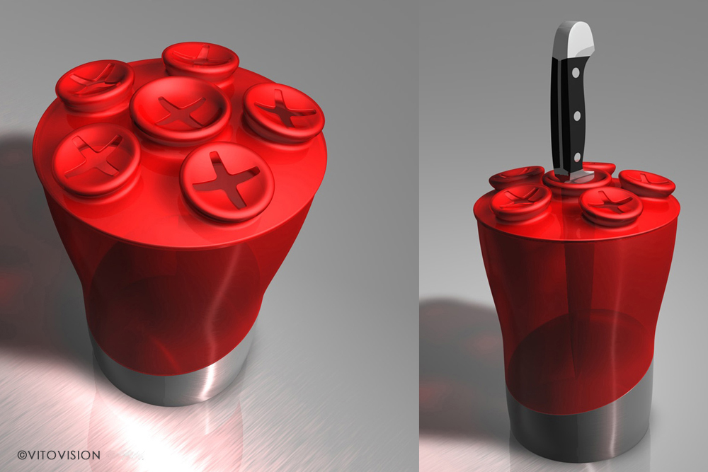 Industrial Design for a red knife block