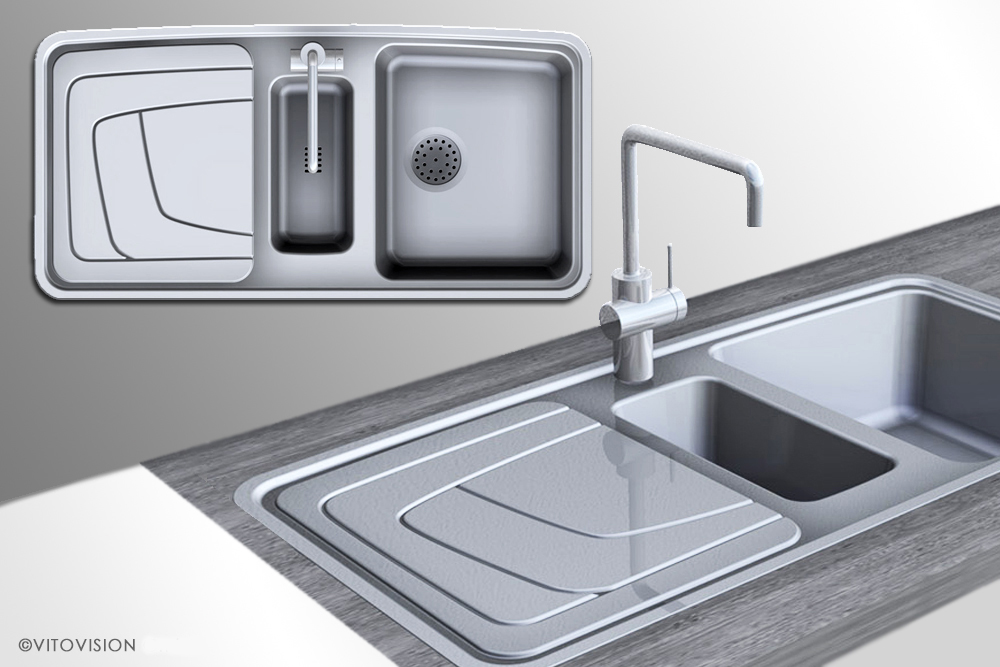 Industrial kitchen design for inset sinks