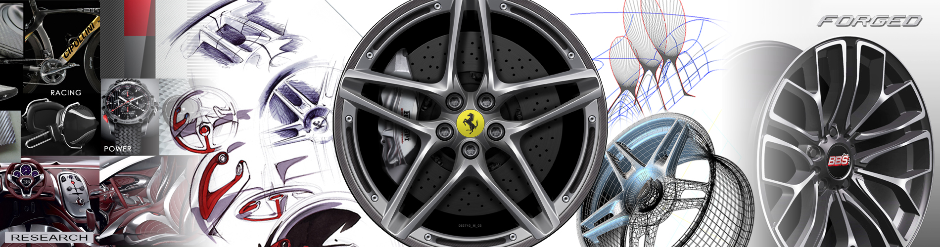 You see a Ferrari wheel and a Forged BBS wheel which were created by Vitovision as well as different CAD design sketches for watches and vehicles and other possibilities of automotive design